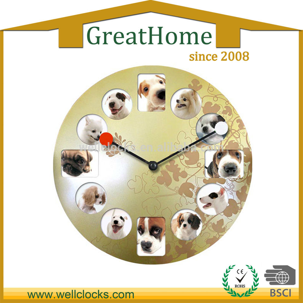 Wellclocks 16 photo frame lagre metal wall clock with cute dogs photo amipublicfo Gallery